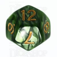 TDSO Pearl Verdant Green & Gold D12 Dice