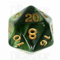 TDSO Pearl Verdant Green & Gold D20 Dice