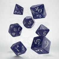 Q Workshop Classic RPG Pearl Cobalt & White 7 Dice Polyset