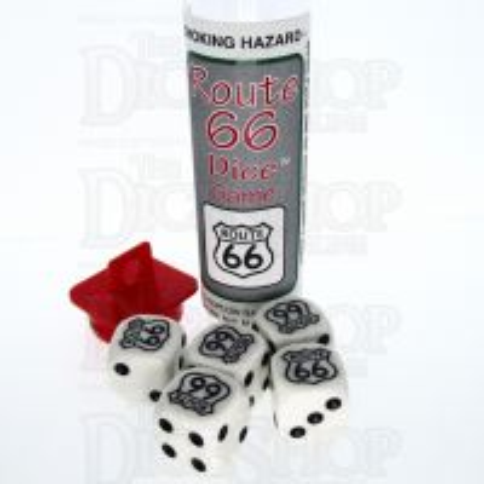 Koplow White & Black Route 66 5 x D6 Spot Dice Game