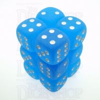 Chessex Frosted Caribbean Blue & White 12 x D6 Dice Set