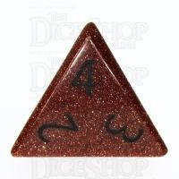 TDSO Goldstone Gold with Engraved Numbers 16mm Precious Gem D4 Dice