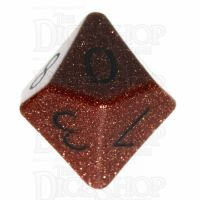 TDSO Goldstone Gold with Engraved Numbers 16mm Precious Gem D10 Dice