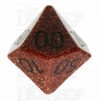 TDSO Goldstone Gold with Engraved Numbers 16mm Precious Gem Percentile Dice