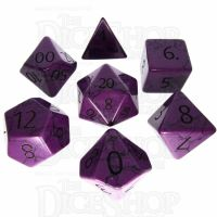 TDSO Turquoise Purple Synthetic with Engraved Numbers 16mm Precious Gem 7 Dice Polyset