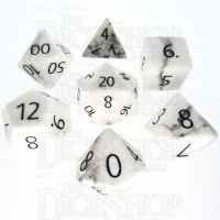TDSO Howlite White with Engraved Numbers 16mm Precious Gem 7 Dice Polyset