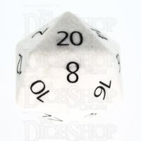 TDSO Howlite White with Engraved Numbers 16mm Precious Gem D20 Dice