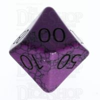 TDSO Turquoise Purple Synthetic with Engraved Numbers 16mm Precious Gem Percentile Dice