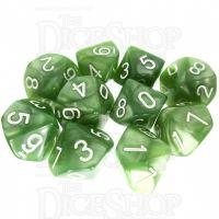 TDSO Pearl Pale Green & White 10 x D10 Dice Set