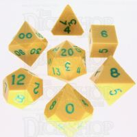 GameScience Opaque Saffron Yellow & Green Ink 7 Dice Polyset