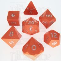 GameScience Opaque Tangerine & Silver Ink 7 Dice Polyset