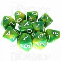 TDSO Duel Green & Yellow With White 10 x D10 Dice Set