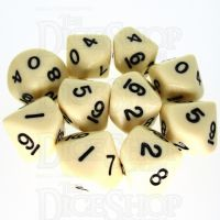 Koplow Opaque Ivory & Black 10 x D10 Dice Set