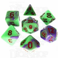 TDSO Duel Green & Purple with Red 7 Dice Polyset - Discontinued
