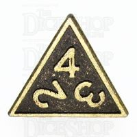 TDSO Metal Fire Forge Ancient Brass D4 Dice