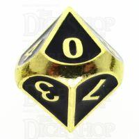 TDSO Metal Fire Forge Gold & Black Enamel D10 Dice