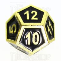 TDSO Metal Fire Forge Gold & Black Enamel D12 Dice