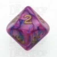 D&G Toxic Acid Purple & Blue D10 Dice