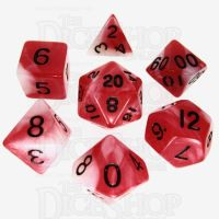 TDSO Duel Red & Pearl White with Black 7 Dice Polyset - Discontinued