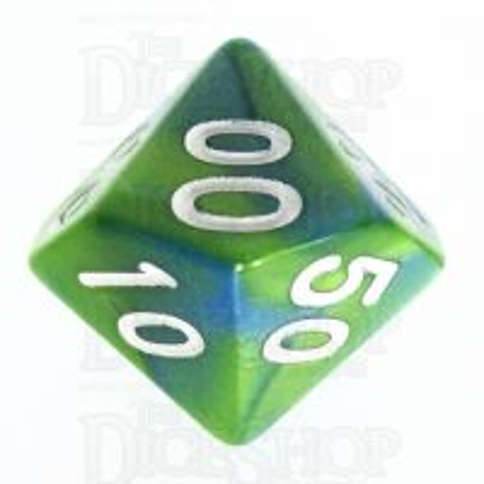 TDSO Duel Turquoise Blue & Pistachio Green Percentile Dice