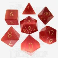 TDSO Cats Eye Red with Engraved Numbers Precious Gem 16mm 7 Dice Polyset