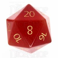 TDSO Cats Eye Red with Engraved Numbers 16mm Precious Gem D20 Dice