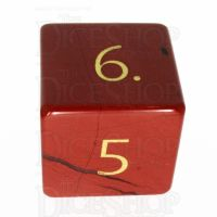 TDSO Jasper Red with Engraved Numbers 16mm Precious Gem D6 Dice