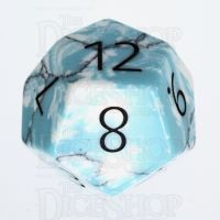 TDSO Turquoise Blue & White Synthetic with Engraved Numbers 16mm Precious Gem D12 Dice