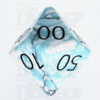TDSO Turquoise Blue & White Synthetic with Engraved Numbers 16mm Precious Gem Percentile Dice