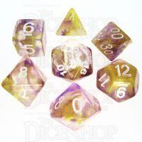 TDSO Pearl Swirl Purple & Yellow 7 Dice Polyset