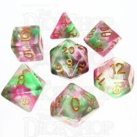 TDSO Pearl Swirl Rose & Green 7 Dice Polyset