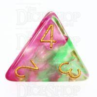 TDSO Pearl Swirl Rose & Green D4 Dice