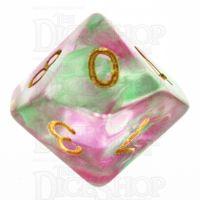 TDSO Pearl Swirl Rose & Green D10 Dice