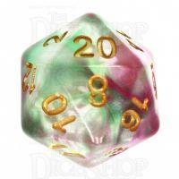TDSO Pearl Swirl Rose & Green D20 Dice