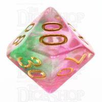 TDSO Pearl Swirl Rose & Green Percentile Dice