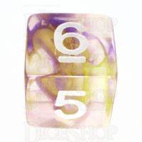 TDSO Pearl Swirl Purple & Yellow D6 Dice
