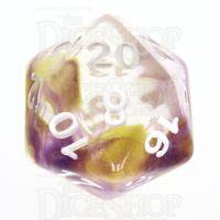 TDSO Pearl Swirl Purple & Yellow D20 Dice