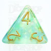 TDSO Pearl Swirl Green & Blue D4 Dice