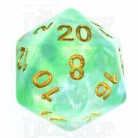 TDSO Pearl Swirl Green & Blue D20 Dice