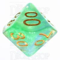 TDSO Pearl Swirl Green & Blue Percentile Dice
