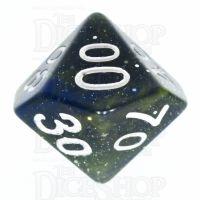 TDSO Galaxy Glitter Blue & Yellow Percentile Dice