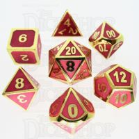 TDSO Metal Fire Forge Gold & Rose Glow In The Dark 7 Dice Polyset