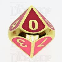 TDSO Metal Fire Forge Gold & Rose Glow In The Dark D10 Dice