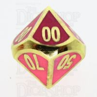TDSO Metal Fire Forge Gold & Rose Glow In The Dark Percentile Dice