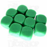 TDSO Opaque Blank Green 16mm 10 x D6 Dice Set