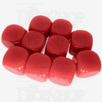 TDSO Opaque Blank Red 16mm 10 x D6 Dice Set