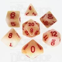 TDSO Jade Ivory & Red 7 Dice Polyset