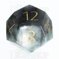 TDSO Emerald with Engraved Gold Numbers 16mm Precious Gem D12 Dice