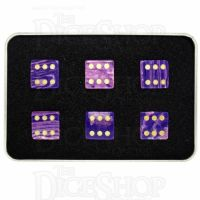 TDSO Turquoise Purple Wave Synthetic with Engraved Spots 16mm Precious Gem 6 x D6 Dice Set