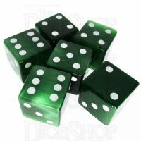 TDSO Cats Eye Dark Green with Engraved Spots 16mm Precious Gem 6 x D6 Dice Set